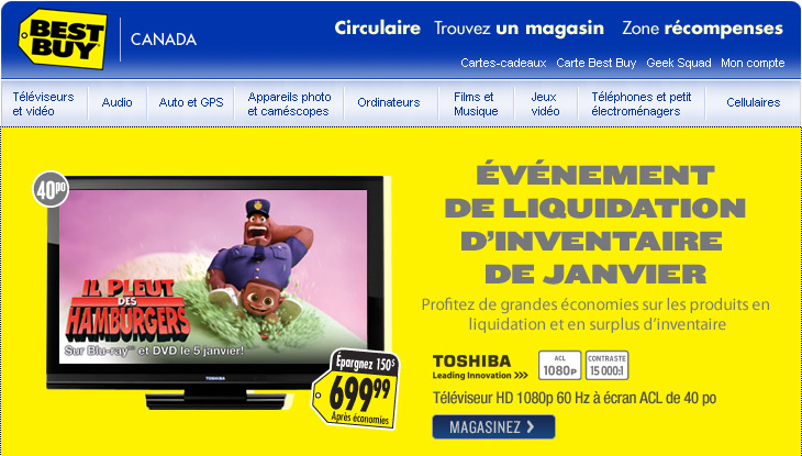 Best Buy vente inventaire