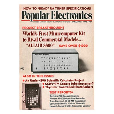 Popular electronics Intel 8080 Altair 8800
